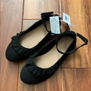 Old Navy Suede Ballet Flats with Ruffle - Black 11